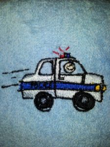 POLICE CAR PERSONALISED FACE CLOTH